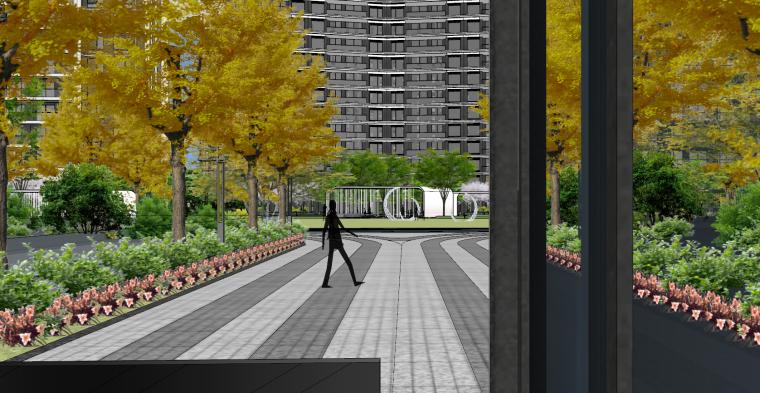 现代流线风格大区住宅建筑和景观模型设计_4