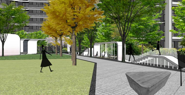 现代流线风格大区住宅建筑和景观模型设计_9