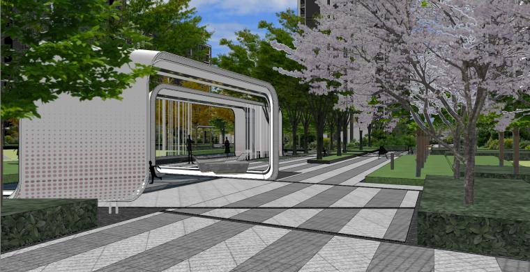 现代流线风格大区住宅建筑和景观模型设计_8
