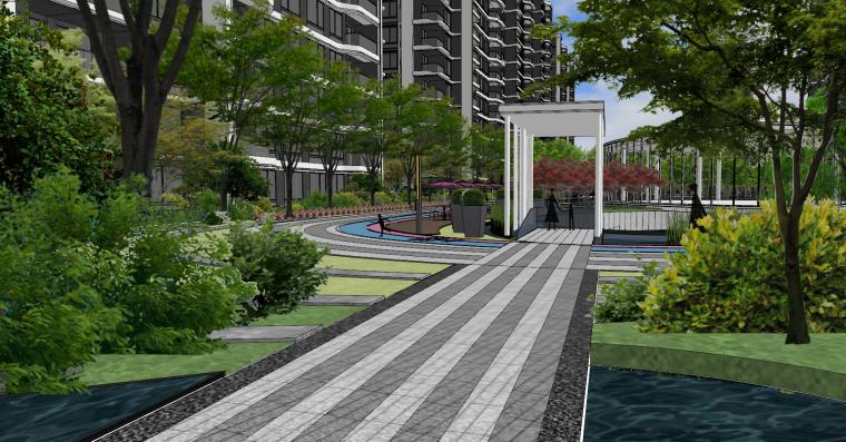 现代流线风格大区住宅建筑和景观模型设计_16