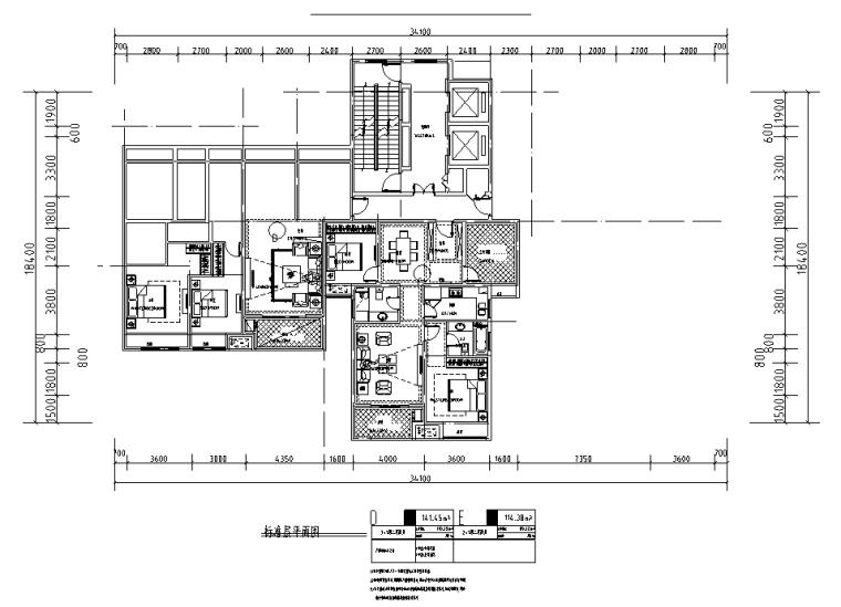 150+120㎡2梯3户高层户型图设计_4