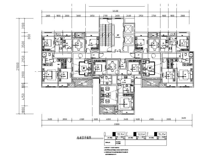 150+120㎡2梯3户高层户型图设计_5
