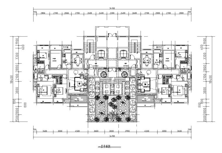150+120㎡2梯3户高层户型图设计_1
