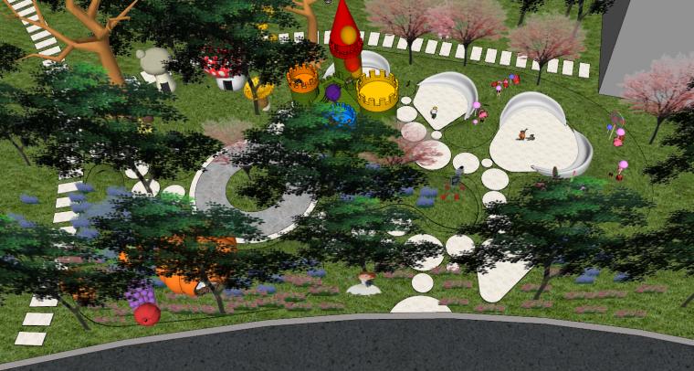 住宅儿童卡通乐园SU景观模型设计_1