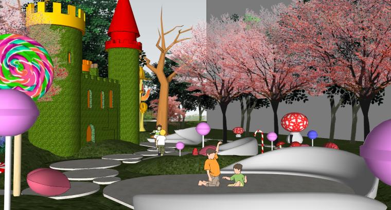 住宅儿童卡通乐园SU景观模型设计_4