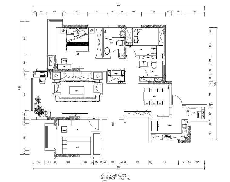 现代风格私宅室内装饰施工图CAD+水电图2020
