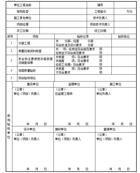 [一键下载]25篇路桥隧市政竣工验收表格!_10