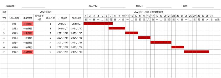 施工进度横道图自动生成模板EXCEL_2