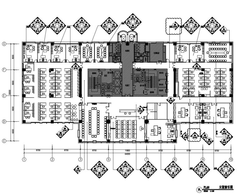 中国石油现代风格办公空间装修施工+机电图_5