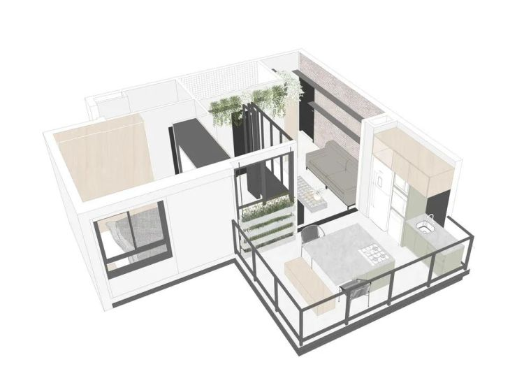 49平米小户型单身公寓,简净冷冽的氛围_1