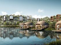 新和风山水绿城温泉小镇建筑模型合集-2021