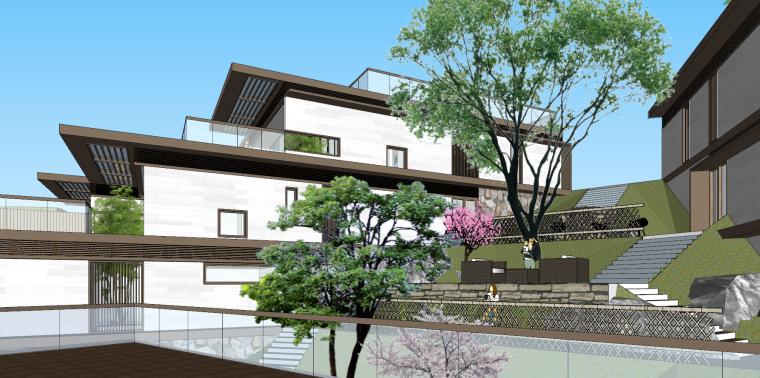 [浙江]新中式-山地别墅公寓+整体模型2020_8