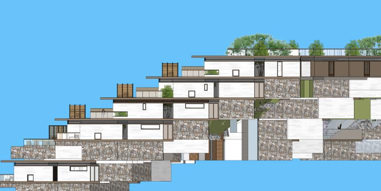 [浙江]新中式-山地别墅公寓+整体模型2020_10
