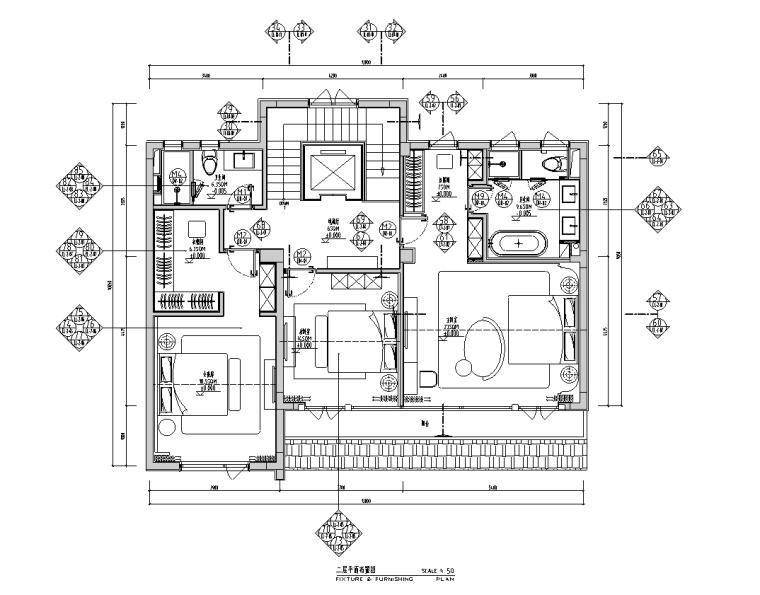 [安徽]现代风合院别墅样板房施工图+物料书_3