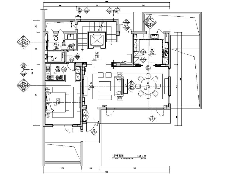 现代风合院别墅样板房施工图+物料书