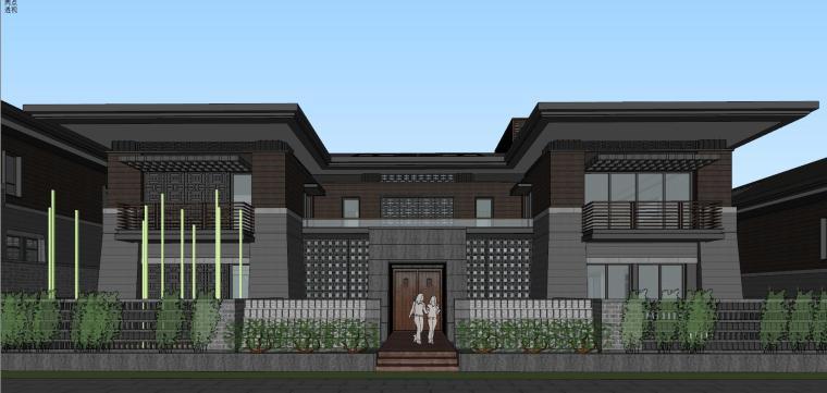 [西安]新中式合院别墅建筑模型SU_5