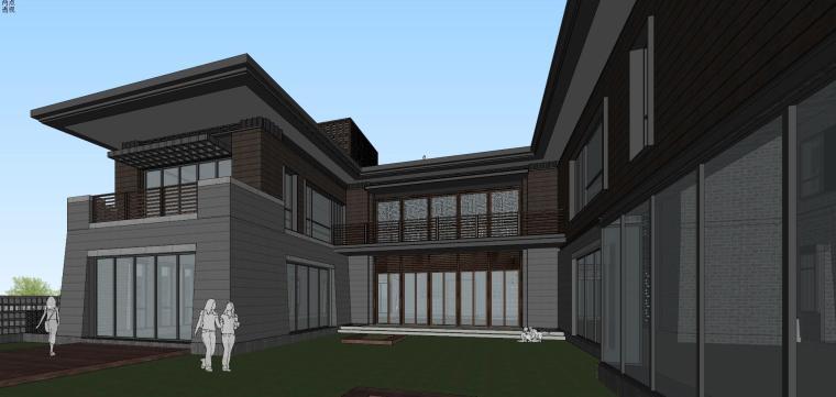 [西安]新中式合院别墅建筑模型SU_6