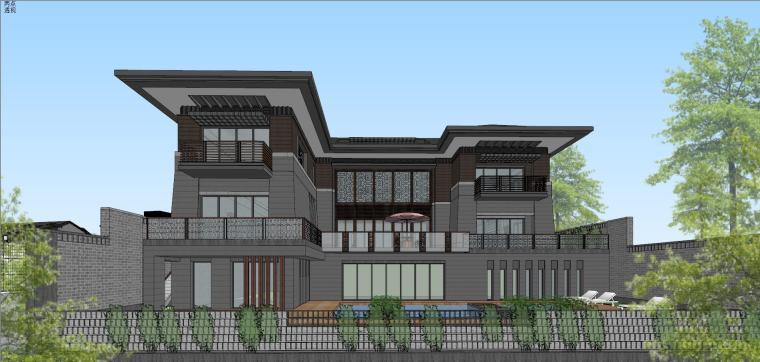[西安]新中式合院别墅建筑模型SU_1