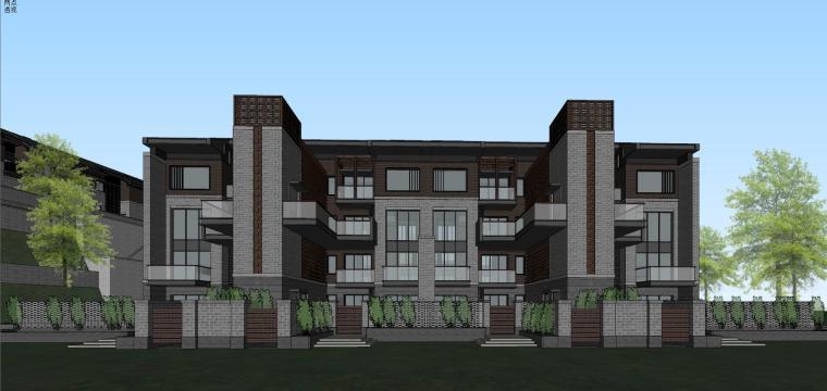 [西安]新中式合院别墅建筑模型SU_2
