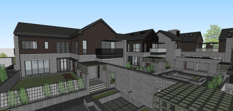 [西安]新中式合院别墅建筑模型SU_4