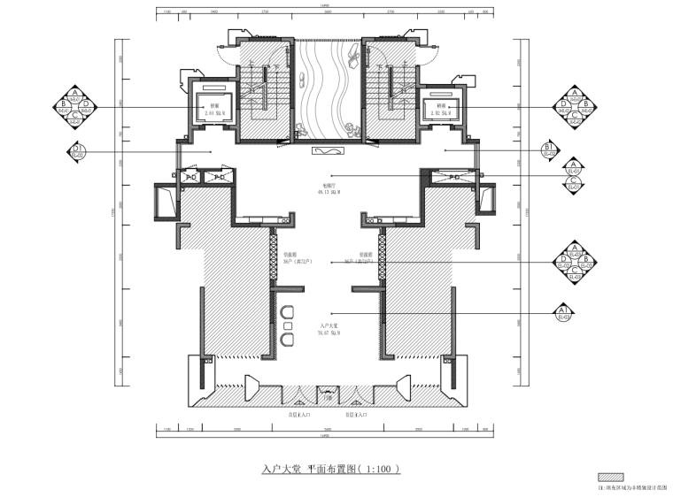 [浙江]样板间公区大堂部分装修施工图设计_1