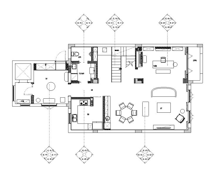 [浙江]混搭风格300M²别墅装修施工图+水电图_1