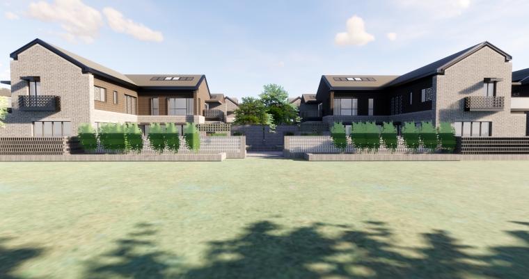 [西安]新中式合院别墅建筑SU模型_3