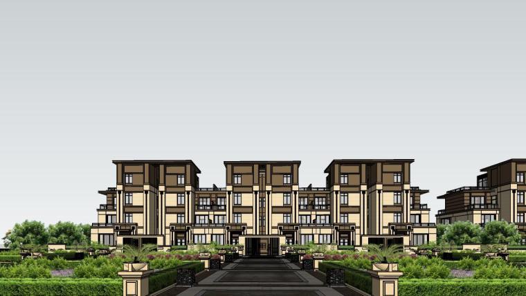 新亚洲联排别墅建筑SU模型_6