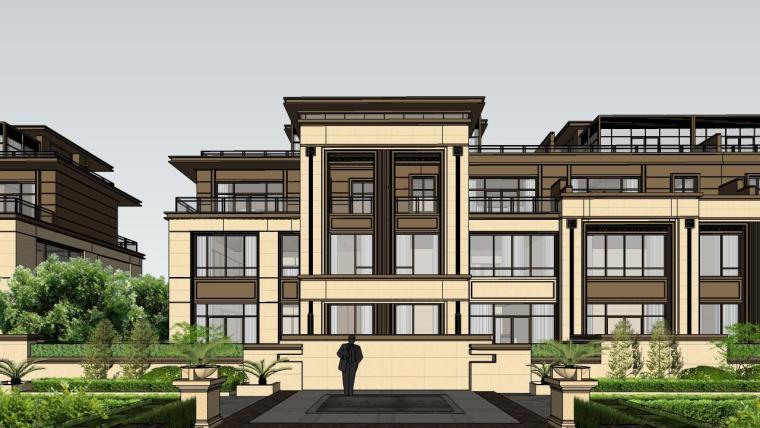 新亚洲联排别墅建筑SU模型_3