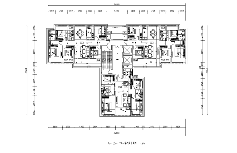 [广西]T3-116+116+100住宅户型图设计2019_4