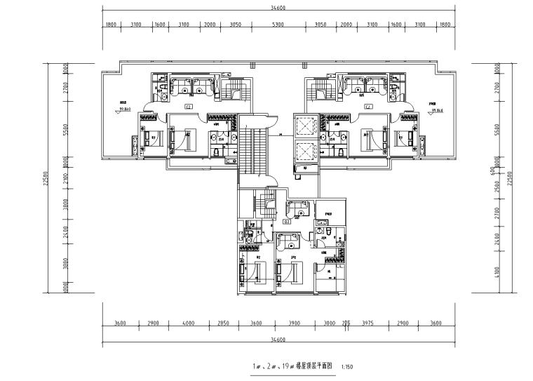 [广西]T3-116+116+100住宅户型图设计2019_9