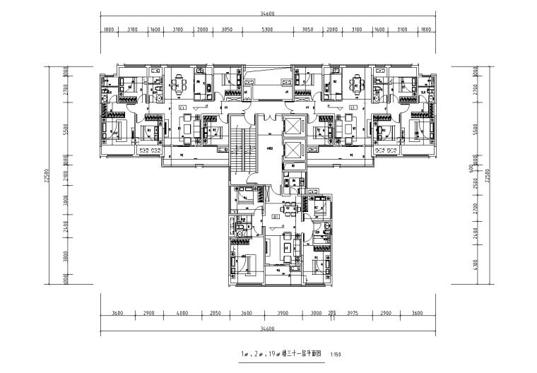 [广西]T3-116+116+100住宅户型图设计2019_7