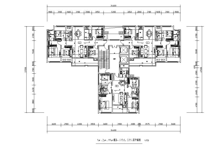 [广西]T3-116+116+100住宅户型图设计2019_3