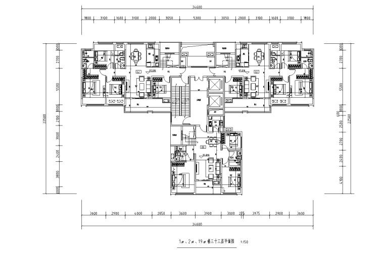[广西]T3-116+116+100住宅户型图设计2019_8