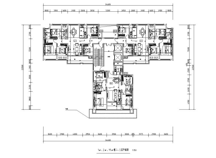 [广西]T3-116+116+100住宅户型图设计2019_2