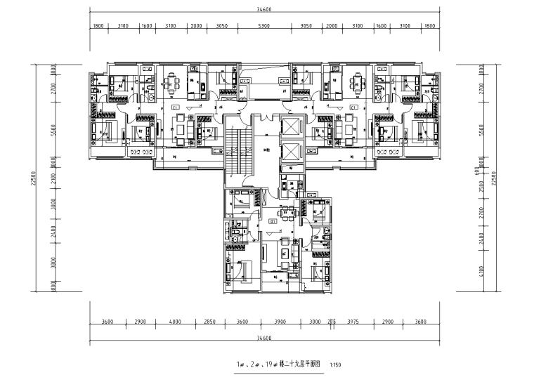 [广西]T3-116+116+100住宅户型图设计2019_5