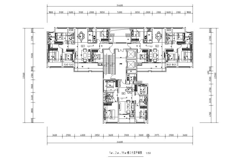 [广西]T3-116+116+100住宅户型图设计2019_6