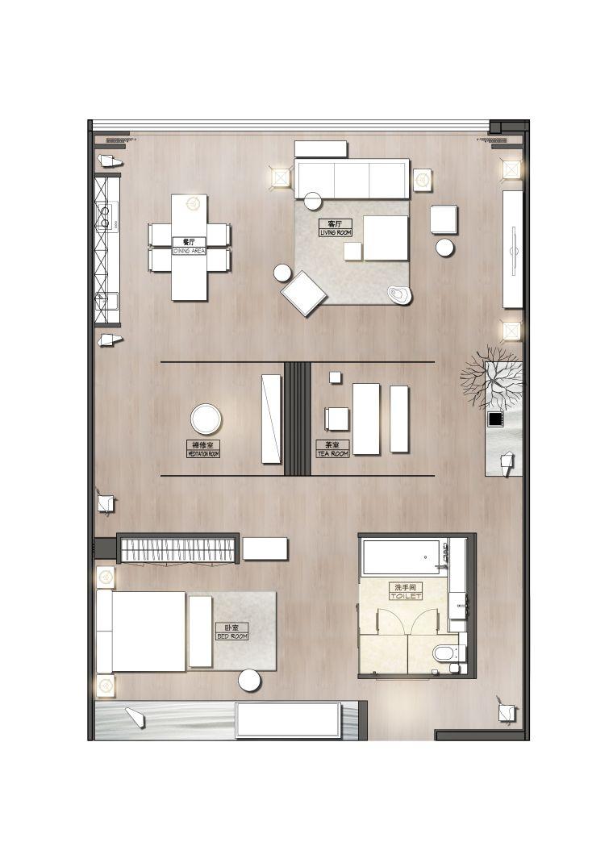 新中式江南风民宿室内CAD施工图+SU模型_16