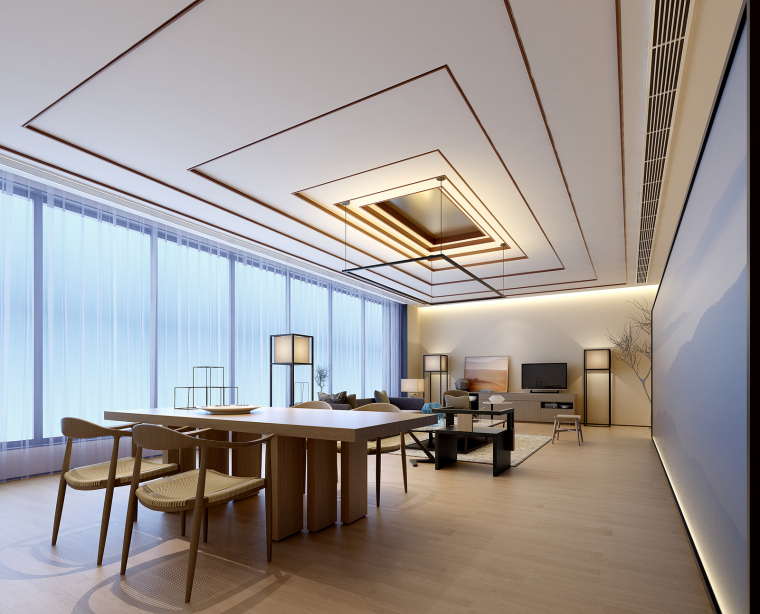 新中式江南风民宿室内CAD施工图+SU模型_1
