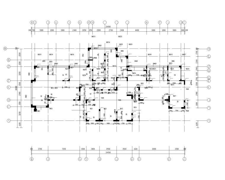 钢混框架剪力墙住宅结构施工图450p_1