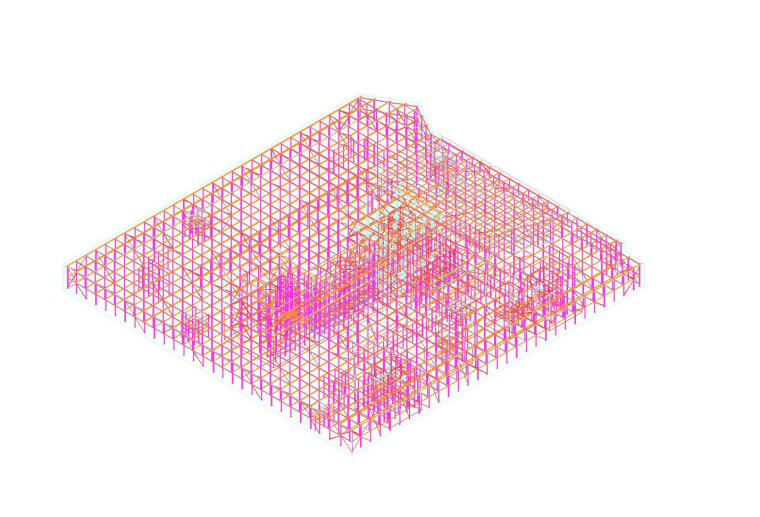 5套底板钢筋支撑架设计与布置方案布置图~-[名企]底板钢筋支架焊缝要求通图整体模型图_1