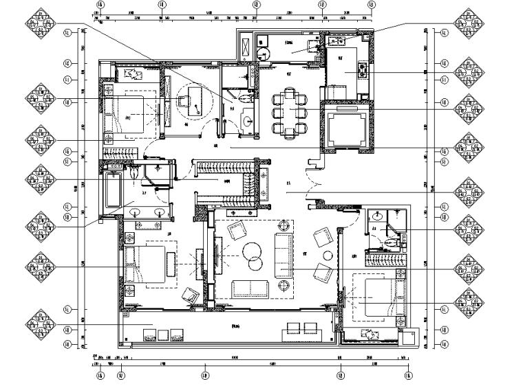 [重庆]182㎡现代四居室住宅精装施工图2020_1