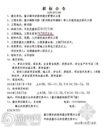 """温州平阳现""""雷人""""招标公告 要花74亿修人行道"""