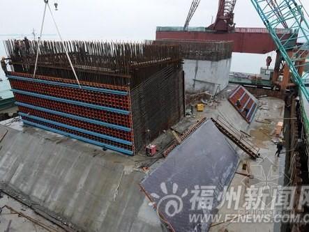 琅岐闽江大桥塔柱首节混凝土完成浇灌
