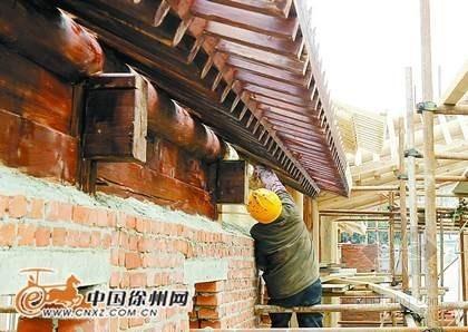 徐州重点工程乾隆行宫改造木结构完成