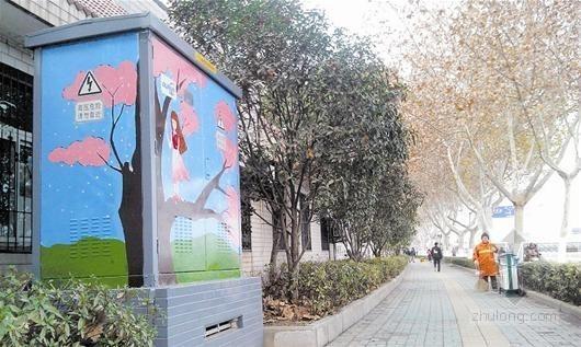 武汉景观路配电箱喷绘图案 居民认为有安全隐患