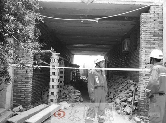 河南一村施工不带安全帽 楼板断裂致四名工人受伤