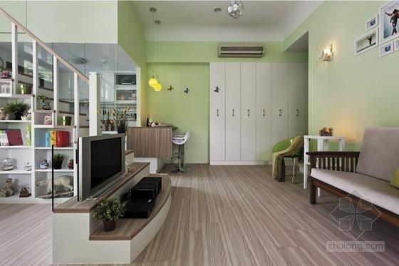 草绿色调60平方家居装修设计 巧妙空间极具趣味