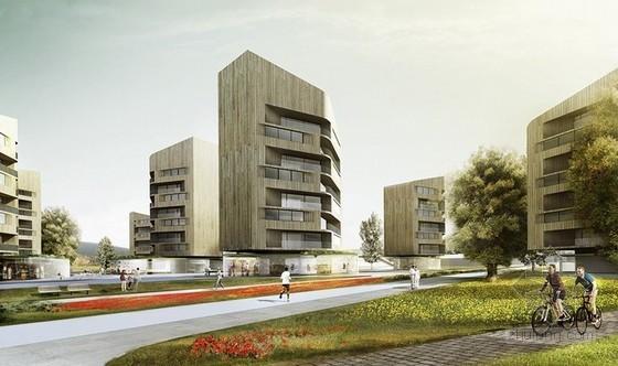 "Stefano Rocchetti等设计的挪威Dikemark""交叉剪接""城市街区"