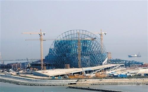 珠海大剧院主体结构封顶 整个工程进度过半
